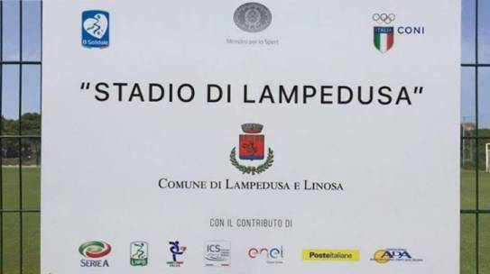 Targa del nuovo Stadio di Lampedusa